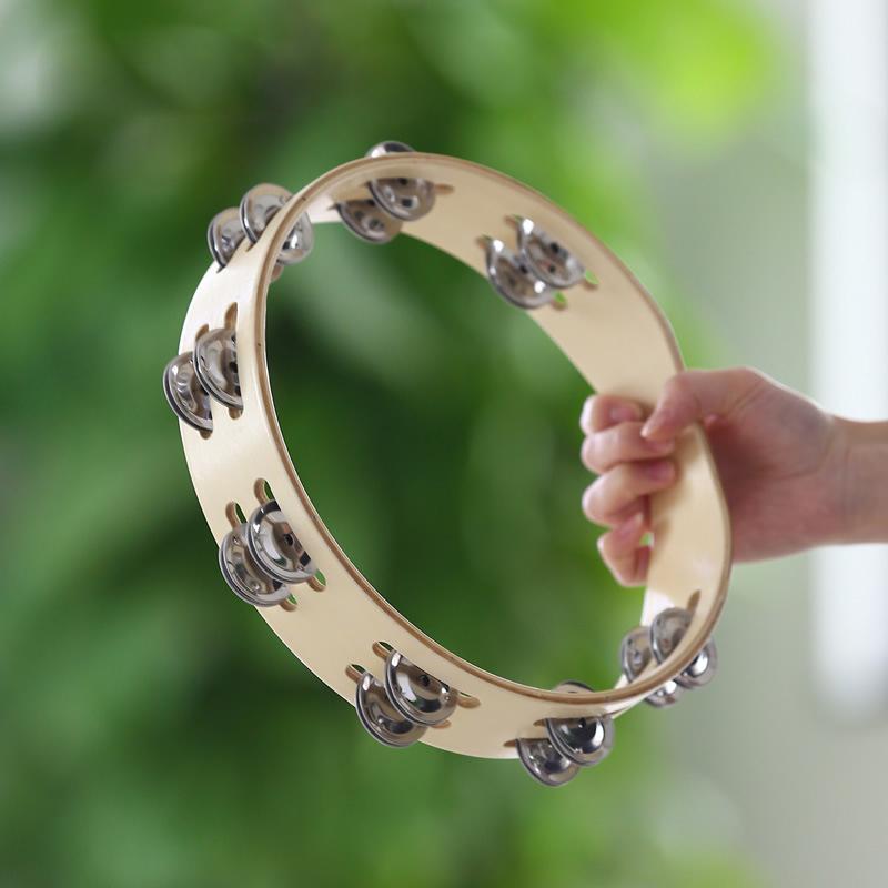 Yihaifu Wuderland Pandereta Reflectante Mano del Tambor Doble Fila Doble Fila Metal Jingle Bell Rendimiento de Baile siguen a Campanilla